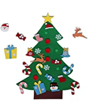 EasyBravo El árbol de Navidad del Fieltro de los 3.6FT DIY fijó + los Ornamentos Desmontables 26pcs, Regalos Colgantes de Navidad de la Pared para Las Decoraciones de la Navidad