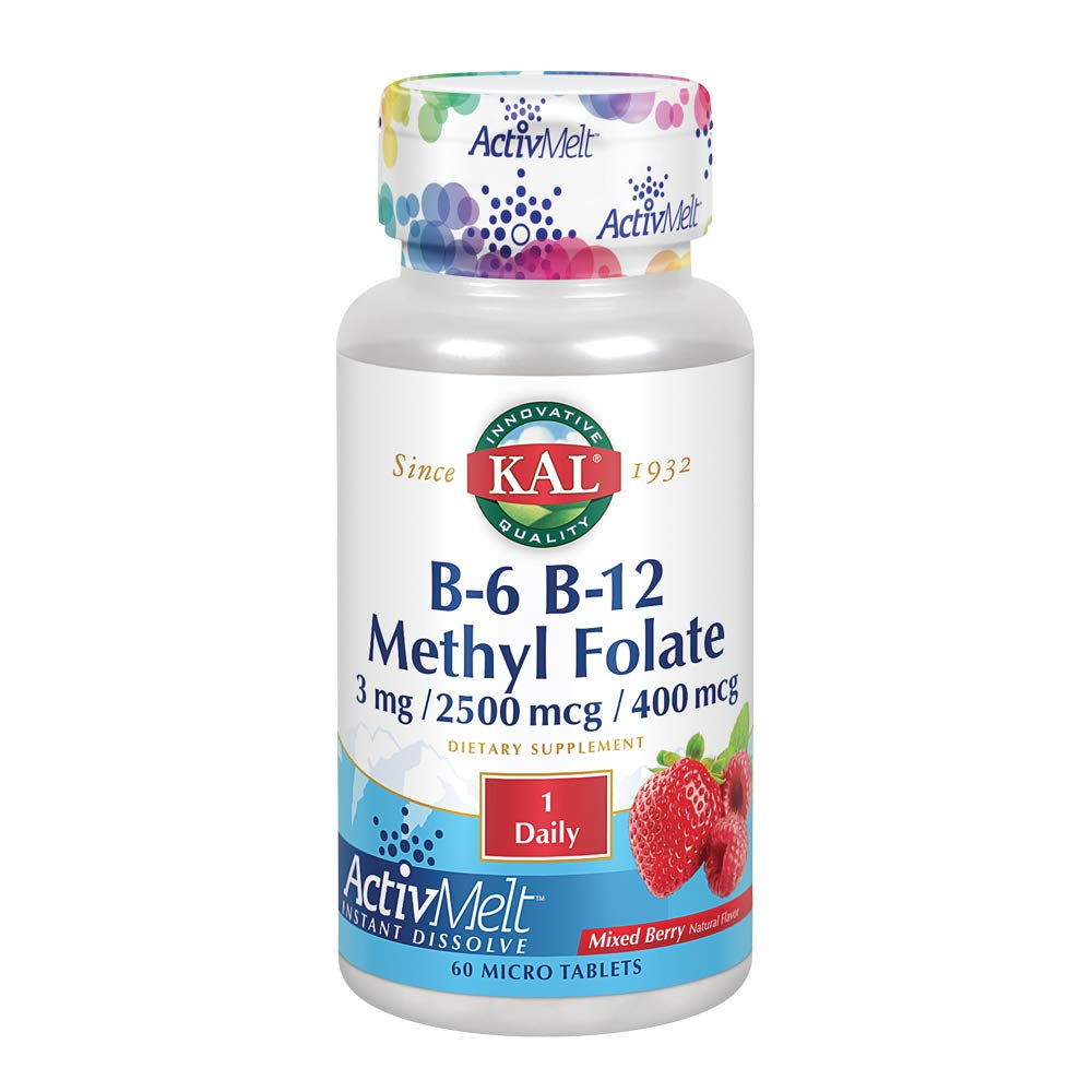 KAL B-6/B-12 Methyl Folate Activmelt, Mixed Berry, White, 60 Count by KAL