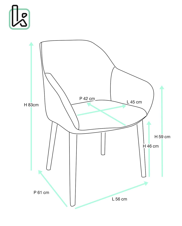Kayelles Silla con reposabrazos Dita, pequeño silla de visita (estilo escandinavo, con patas de roble macizo: Amazon.es: Hogar