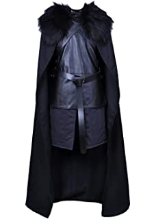 Amazon.com: VOSTE Jon Snow Costume Black PU Jacket Full ...