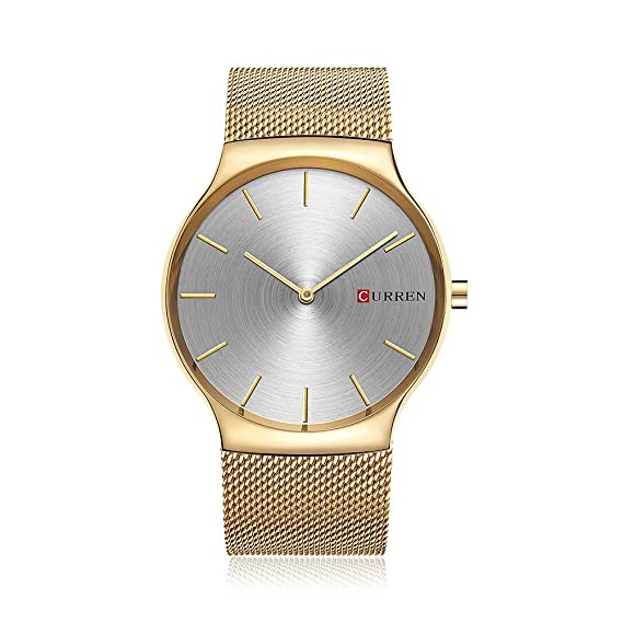 CURREN Acero Inoxidable Reloj de Pulsera Hombre Reloj Analógico de Cuarzo  Cronógrafo Cuarzo  Amazon.es  Relojes 02f7e22f3b41