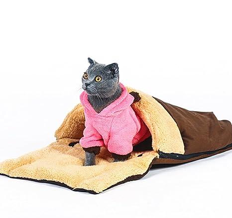 Saco de dormir cálido y suave para gatos con zapatillas dobles