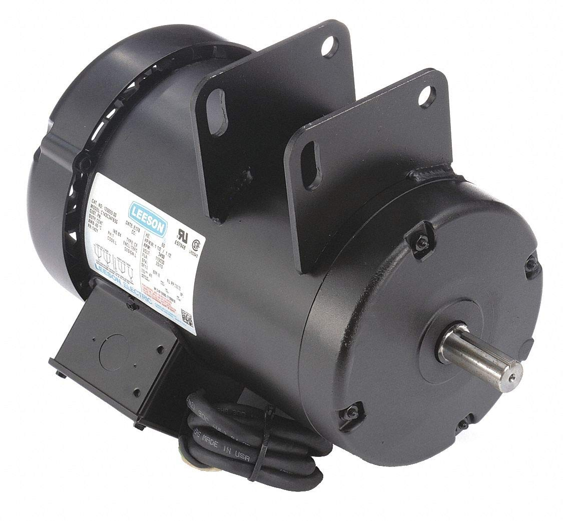 Leeson Contractor Power Saw Electric Motor - 1 1/2 HP, 3,600 RPM, 115/230 Volts, Single Phase, Model Number 120925