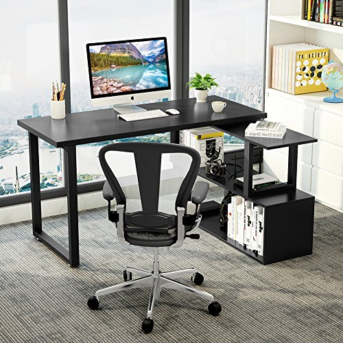 Tribesigns Modern L Shaped Desk 55 Quot Rotating Desk Corner