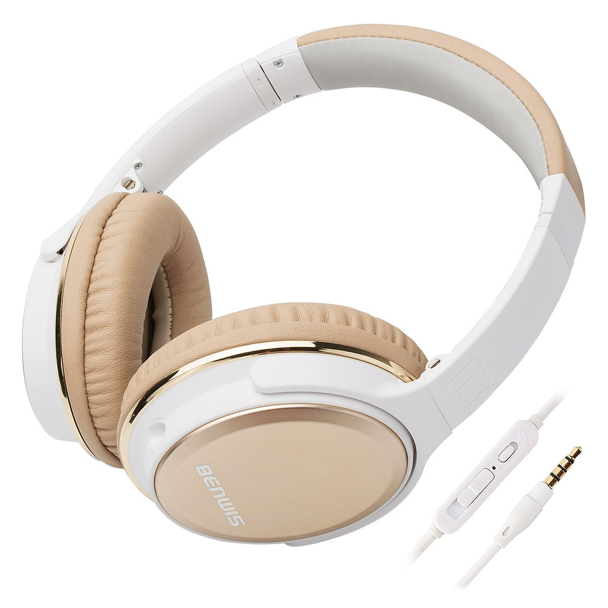BENWIS Over Ear Headphones with Microphones Lightweight Foldable Hi-Fi Stereo and Noise Cancelling Wired Headsets for Computer Cell Phones MP3, Gold