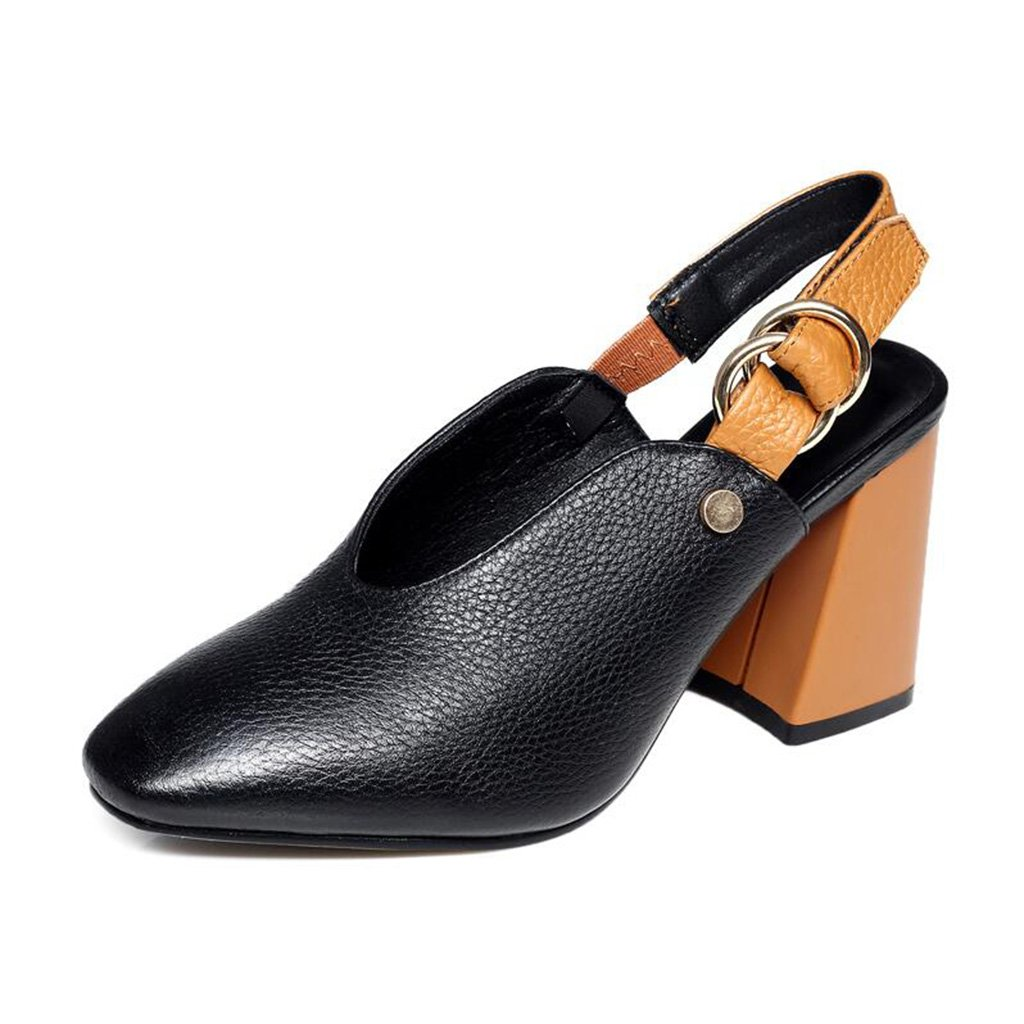 Zapatos De Verano Baotou Sandalias De Tacón Alto Hebilla De Cinturón Femenina Sandalias De Tacón De Cuero (Color : Black, Tamaño : 39) 39|Black
