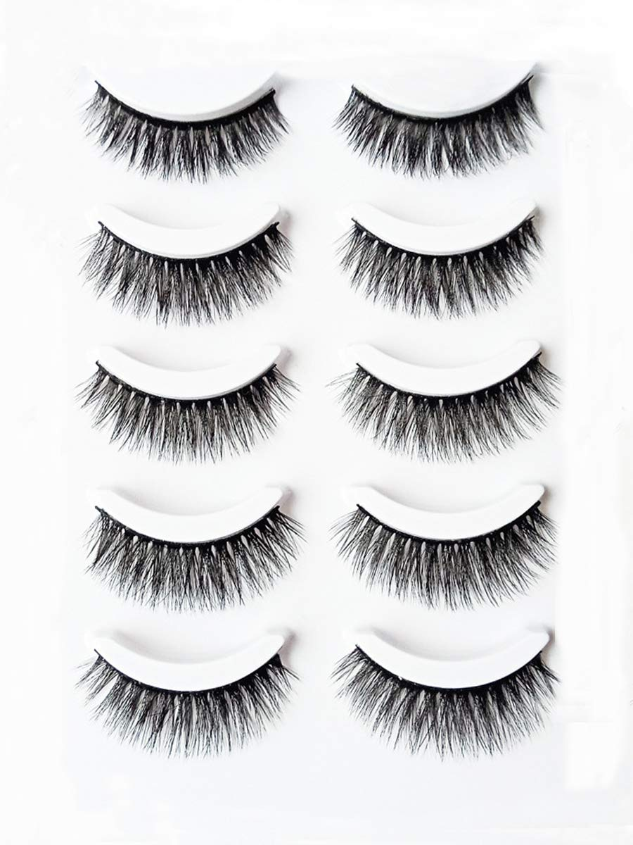 3D False Eyelashes Dramatic Makeup Long Thick Multilayer Fluffy Handmade Fake Eye Lashes 5 Pair Pack (3D-18) JEZZ Beauty