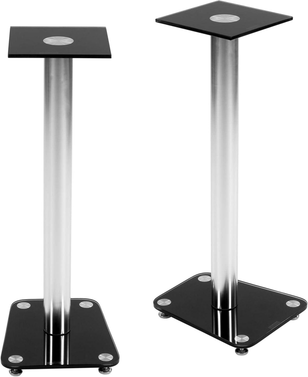 klar Klarglas und Schwarzglas integrierter Kabelkanal STILISTA 2er Set Lautsprecher Boxen St/änder Varianten verchromte Alu Tubes Tragkraft bis 20 kg