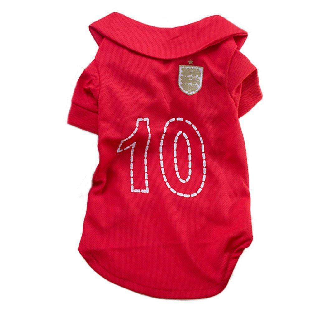 SDDM camiseta de fútbol para mascotas, perro, ropa de fútbol para perro para Inglaterra Away Sport Jersey: Amazon.es: Productos para mascotas