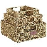 VonHaus Set of 3 Square Seagrass Storage Baskets with Insert Handles - Bathroom & Home Organizer Baskets