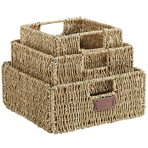 VonHaus Set of 3 Square Seagrass Storage Baskets with Insert Handles Ideal for Bathroom and Home Organization ,Brown ,Set of 3 Seagrass ()
