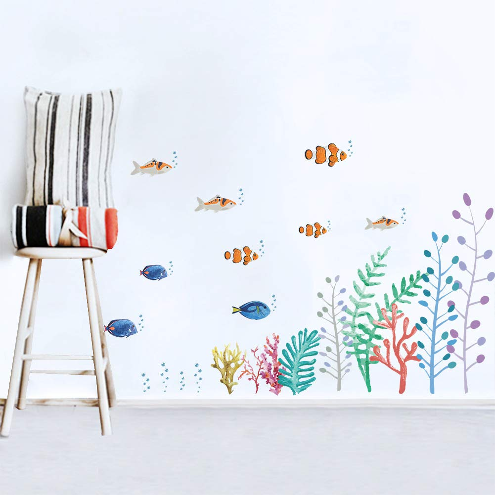 Wallpark Under The Sea Ocean Coral Seaweed Wall Sticker Underwater Fish Baseboard Corner Removable Wall Decal Children Kids Baby Home Room Nursery DIY Decorative Adhesive Art Wall Mural