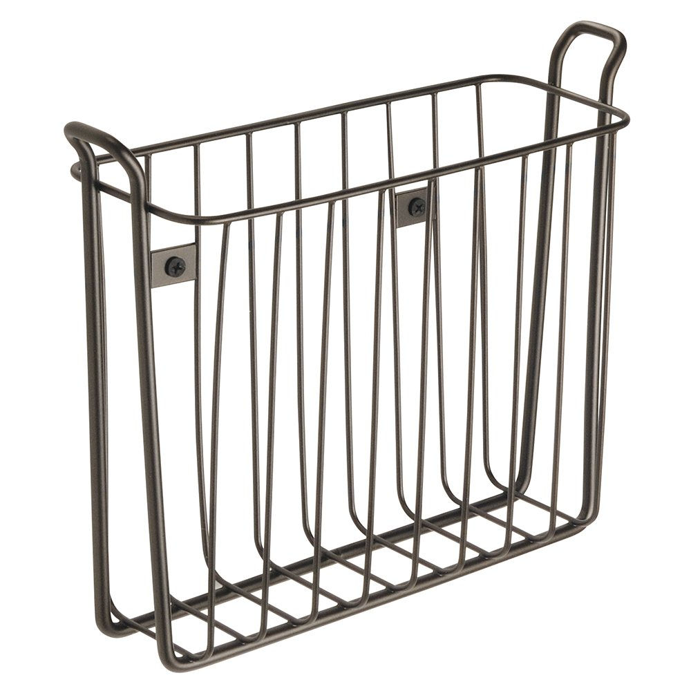 InterDesign Classico Wall Mount Newspaper and Magazine Holder Rack - Bathroom Organizer - Bronze