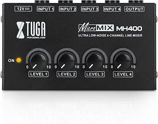 Amazon.com: XTUGA MH400 Sound Mixer Ultra-compact Low Noise 4 Channels Line Mixer,Mini Audio Mixer with AC adapter Use for Microphones,Guitars,Bass,Keyboards,Mixer, Musical Instruments: Musical Instruments