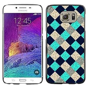 Shell-Star Arte & diseño plástico duro Fundas Cover Cubre Hard Case Cover para Samsung Galaxy S6 / SM-G920 / SM-G920A / SM-G920T / SM-G920F / SM-G920I ( Cool Tourquise Blue Checkered Pattern )