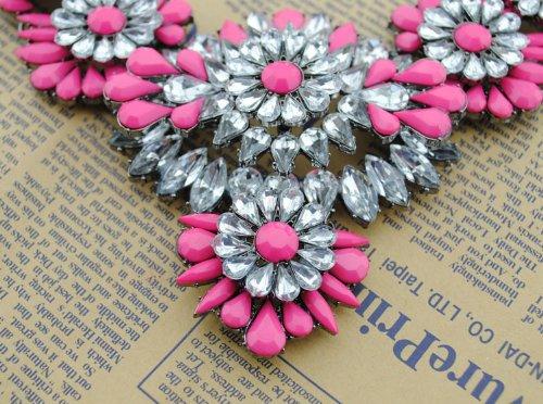 2014 Hot Sale Fashion Gorgeous Lady Chain Bib Statement Acrylic Floral Necklace Collar 5 Colors (Color4)