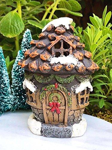My Fairy Gardens Miniature Mini Snow CHRISTMAS Pinecone House w LED Light - Mini Dollhouse Supply Expressions