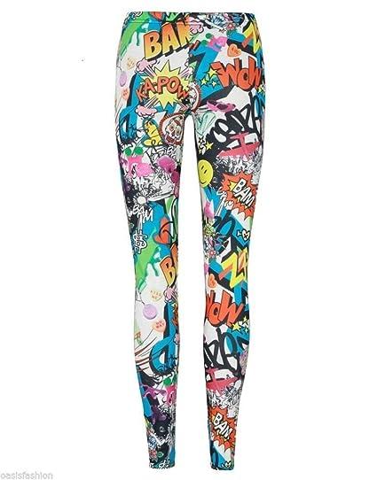 45982df4835c2 Amazon.com: Fashion Oasis Big Girls' Patterned Printed Leggings Comic Book  Checked Zebra: Clothing