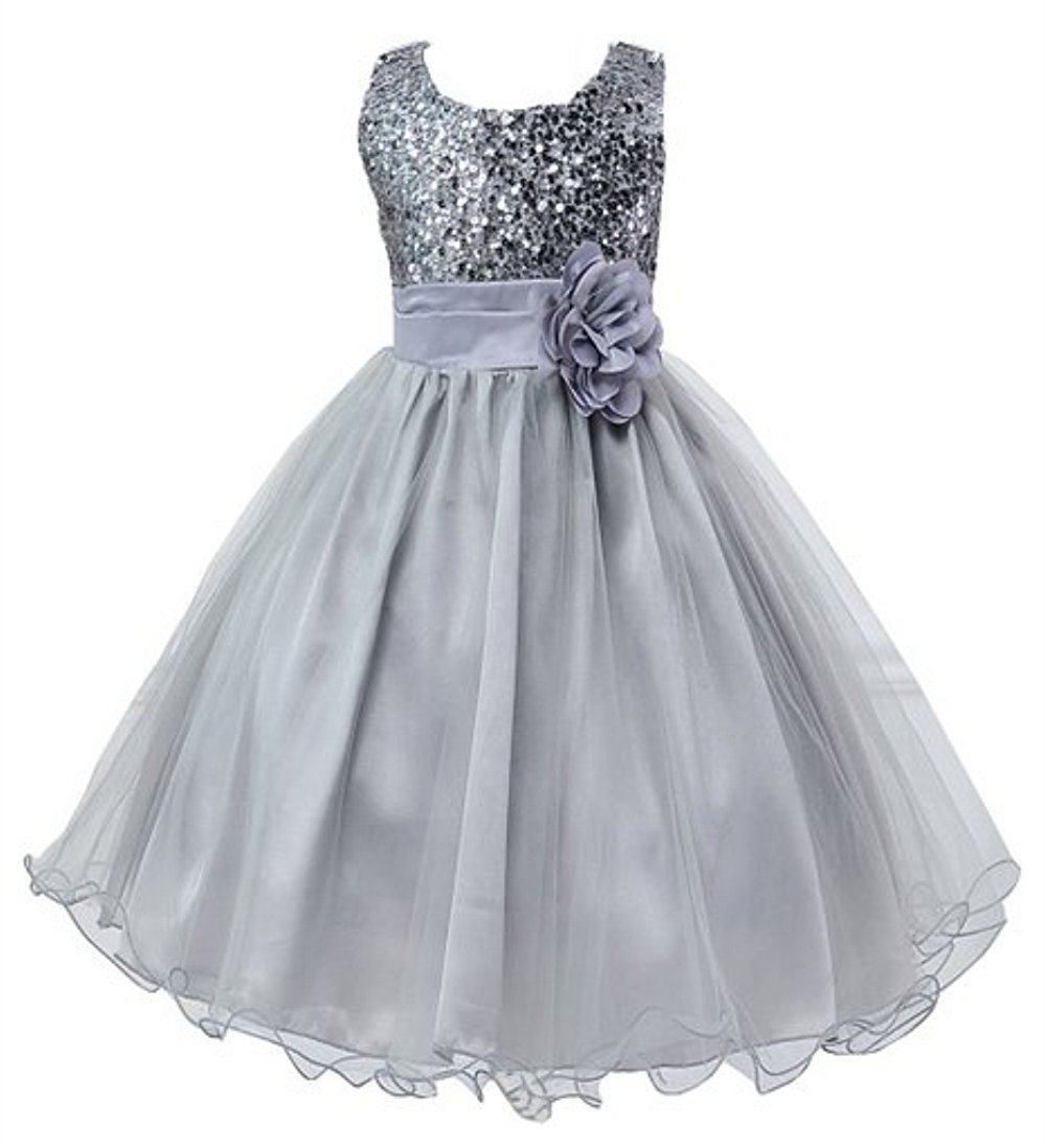 BUYEONLINE Girl Princess Wedding Party Formal Sequin Gown Dress 6-7 Years,Silver