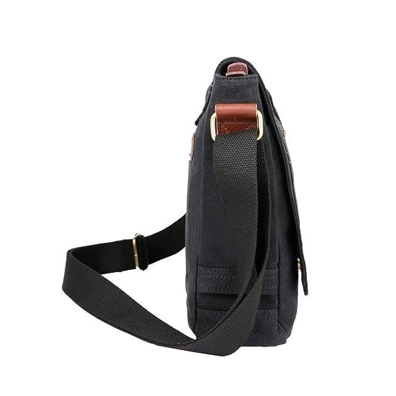 OXA Militar Canvas Messenger Bag Bolsa de hombro portátil bolsa iPad bolsa Bookbag Satchel Crossbody Bolsa Sling Bag Bolsa de viaje bolso mochila bolso de ...