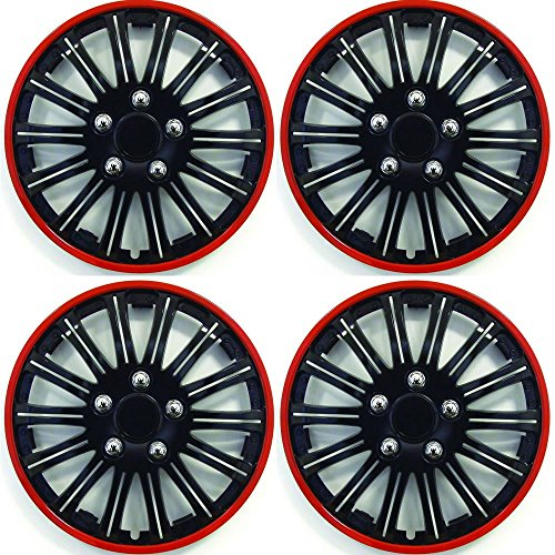 "TOYOTA AYGO Car Wheel Trims Hub Caps Plastic Covers Lighting 15/"" Black /& Blue"