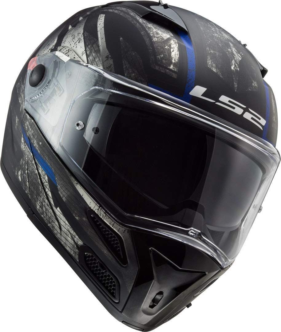 Schwarz//Titanium M LS2 Motorradhelm FF324 METRO EVO BUZZ MATT Schwarz TITANIUM Blau P//J