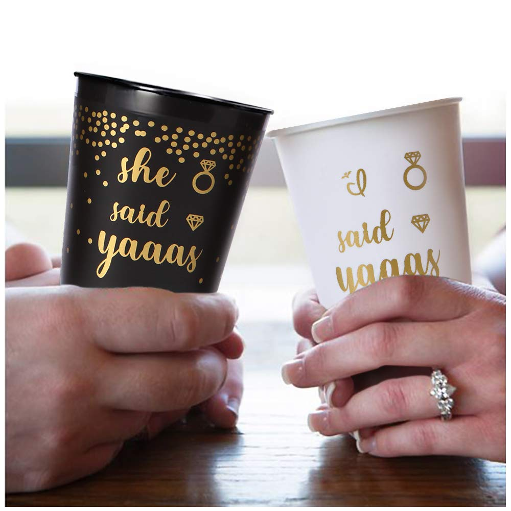 """Bachelorette Party Cups, 16 Pack Bridal Shower White """"I Said Yaaas"""" & Black """"She Said Yaaas"""", Durable and Reusable Plastic Frosted Cup Perfect as Engagement Party Decorations and Bride to Be Gift"""