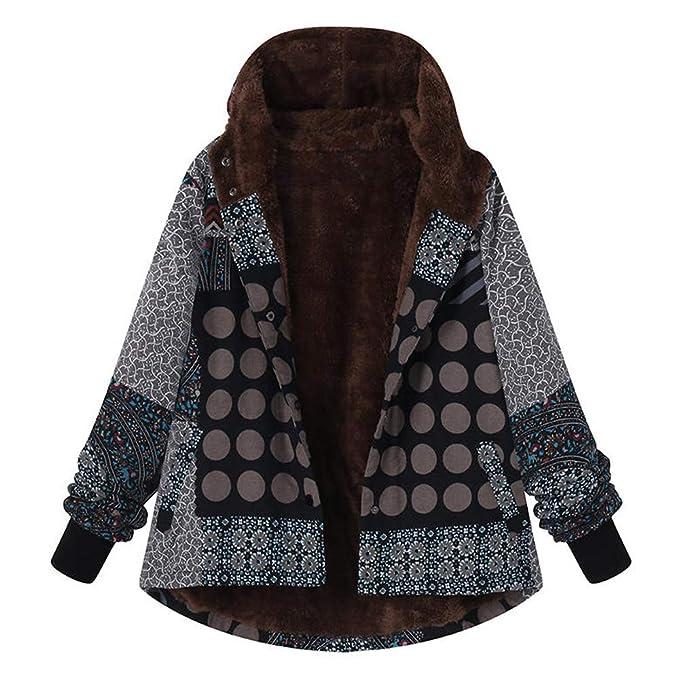 170d0072c4e5 Women s Parka Coats Winter Warm Faux Fur Boho Print Casual Loose ...