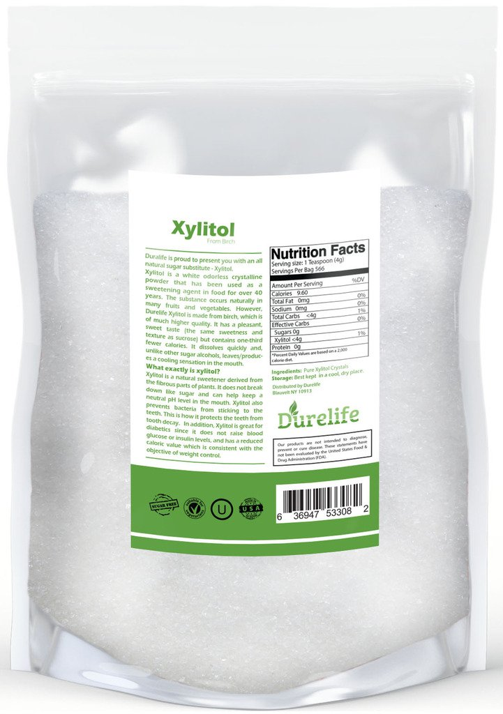 DureLife Birch XYLITOL Sugar Substitute 5 LB Bulk Size (80 OZ) Made From Pure Birch Xylitol In The USA , NON GMO - Gluten Free - Kosher , Packaged In A Large Resealable zipper lock Stand Up Pouch Bag by DureLife (Image #2)