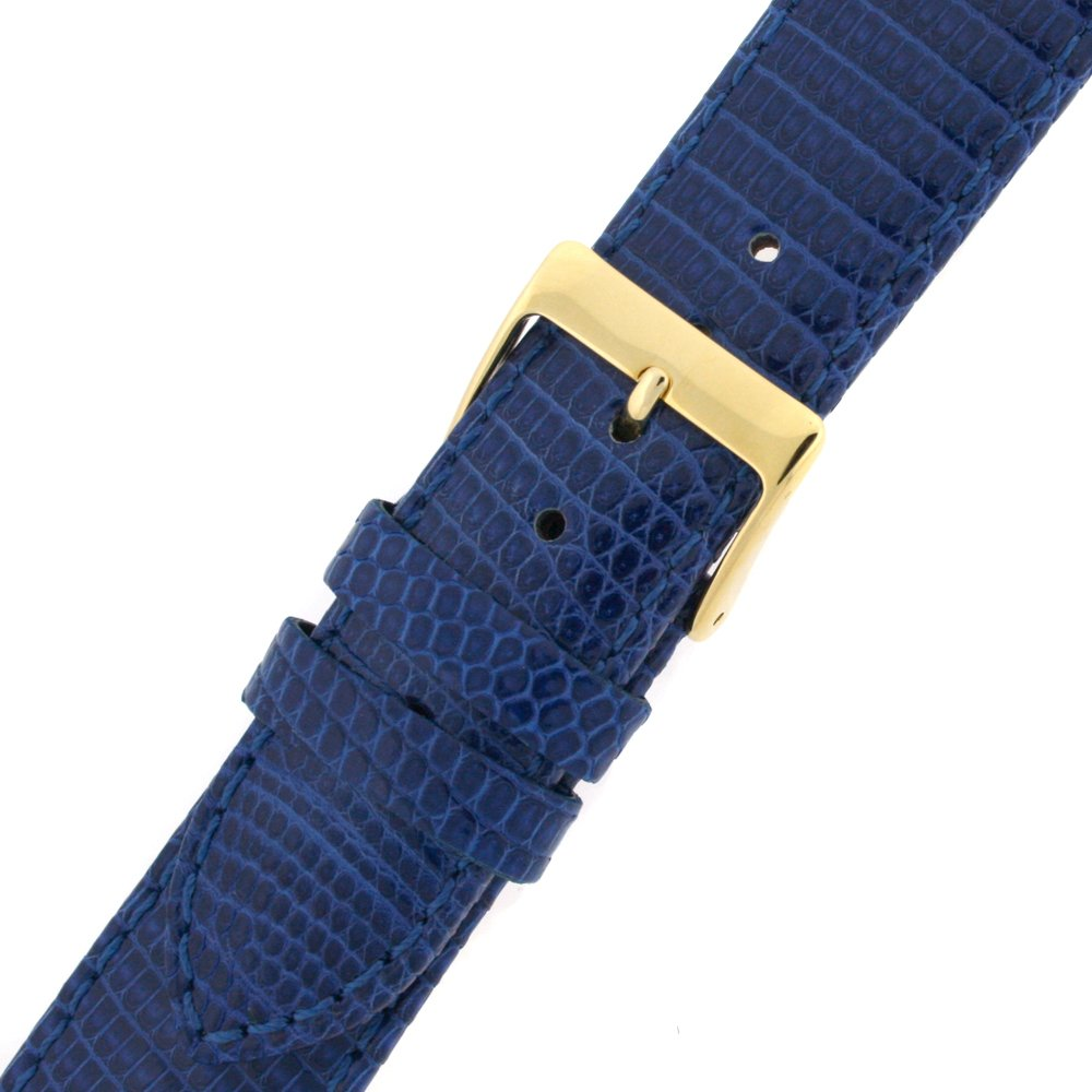 14mm Watch Band Genuine Lizard Blue Quick Release Built-in Pins Gold-tone Buckle
