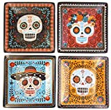 Sugar Skulls Day of the Dead Set of 4 Vibrant Appetizer Snack Plates