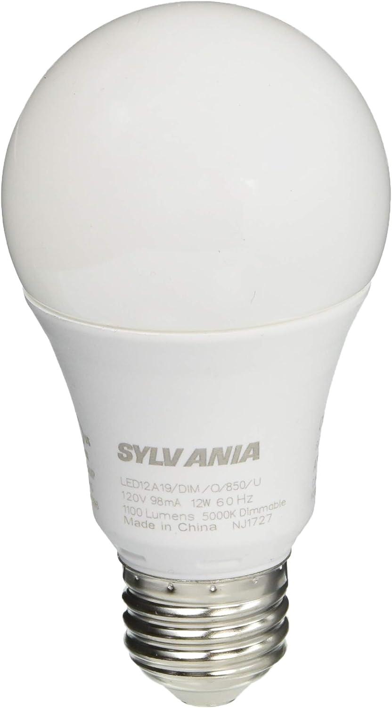 SYLVANIA A19 LED 12W (75W equivalent), Medium Base (E26/24), Frosted Finish, Cool White (5000K), 1100 lumen, 1-pack
