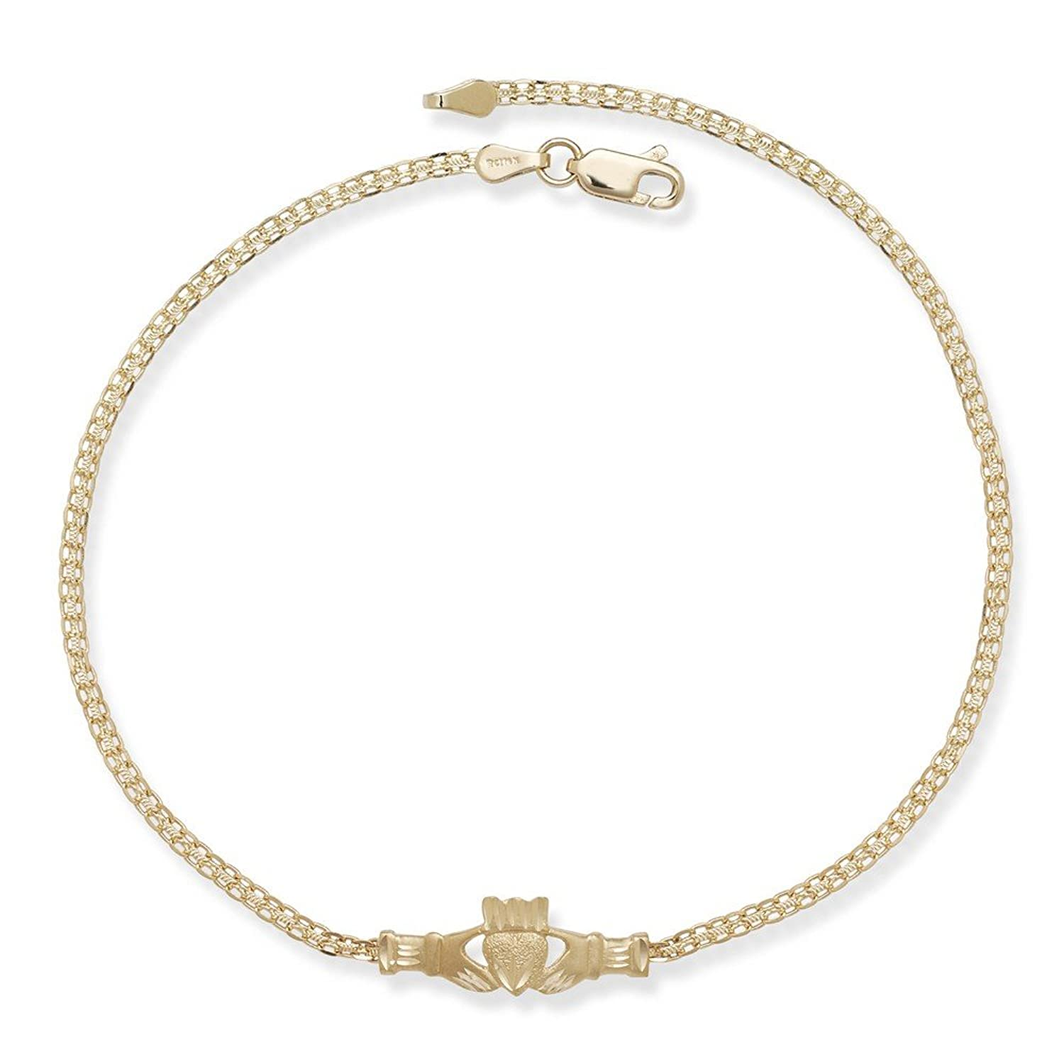 pin inch lobster anklet concave claw chain figaro gold solid open