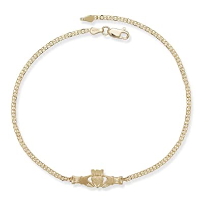 anklet charms gold ankle pearl anklets size pin and inch hammered bracelet sterling filled plus long hand