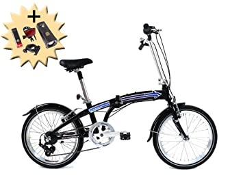 50.8 cm pulgadas ruedas bicicleta plegable plegable Alu Bike Shimano 7 velocidades alemán negro azul decoración
