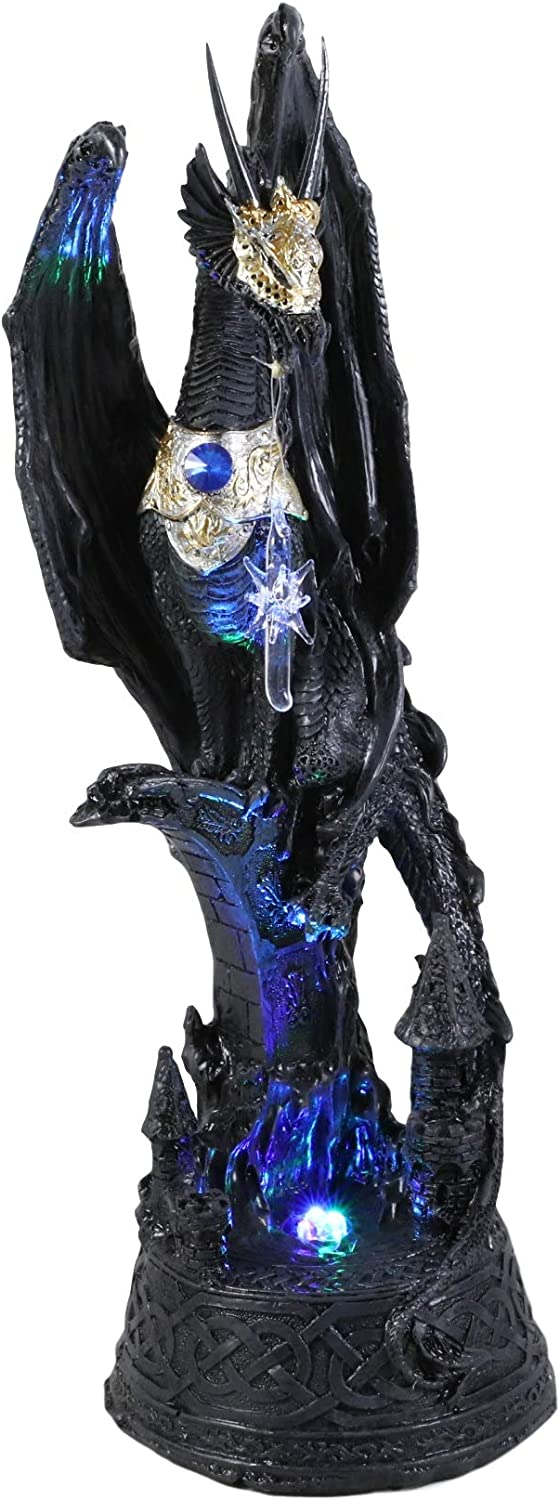 """Ebros 12"""" Tall Blue Sapphire Dragon On Castle Pedestal with Celtic Knotwork Patterns Statue with Color Changing LED Night Light and Glass Stalactite Medieval Dungeons Dragons Fantasy Decor Accent"""