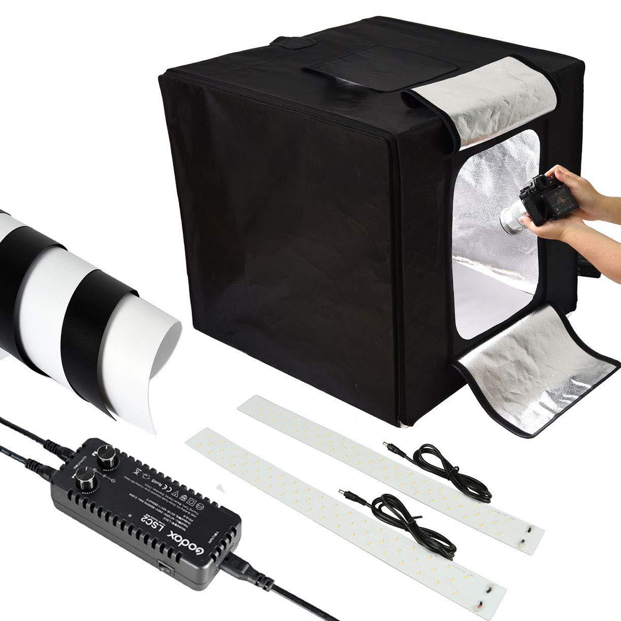 Godox LSD60ミニ写真スタジオ照明テント、写真撮影のための5800KダブルLEDライトボードスタジオボックス(60×60×60CM)   B07HBT7CQV
