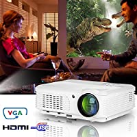 EUG Portable HDMI Home Theater Projector, Digital Beamers Support HD 1080p 720p USB, for Home Cinema Theater Party Video Games TV Laptop iPad iPhone Android Smartphone, Movie Proyector with Remote