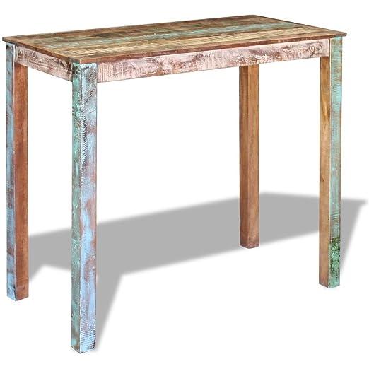 vidaXL Mesa alta de bar madera maciza reciclada 115x60x107 cm ...