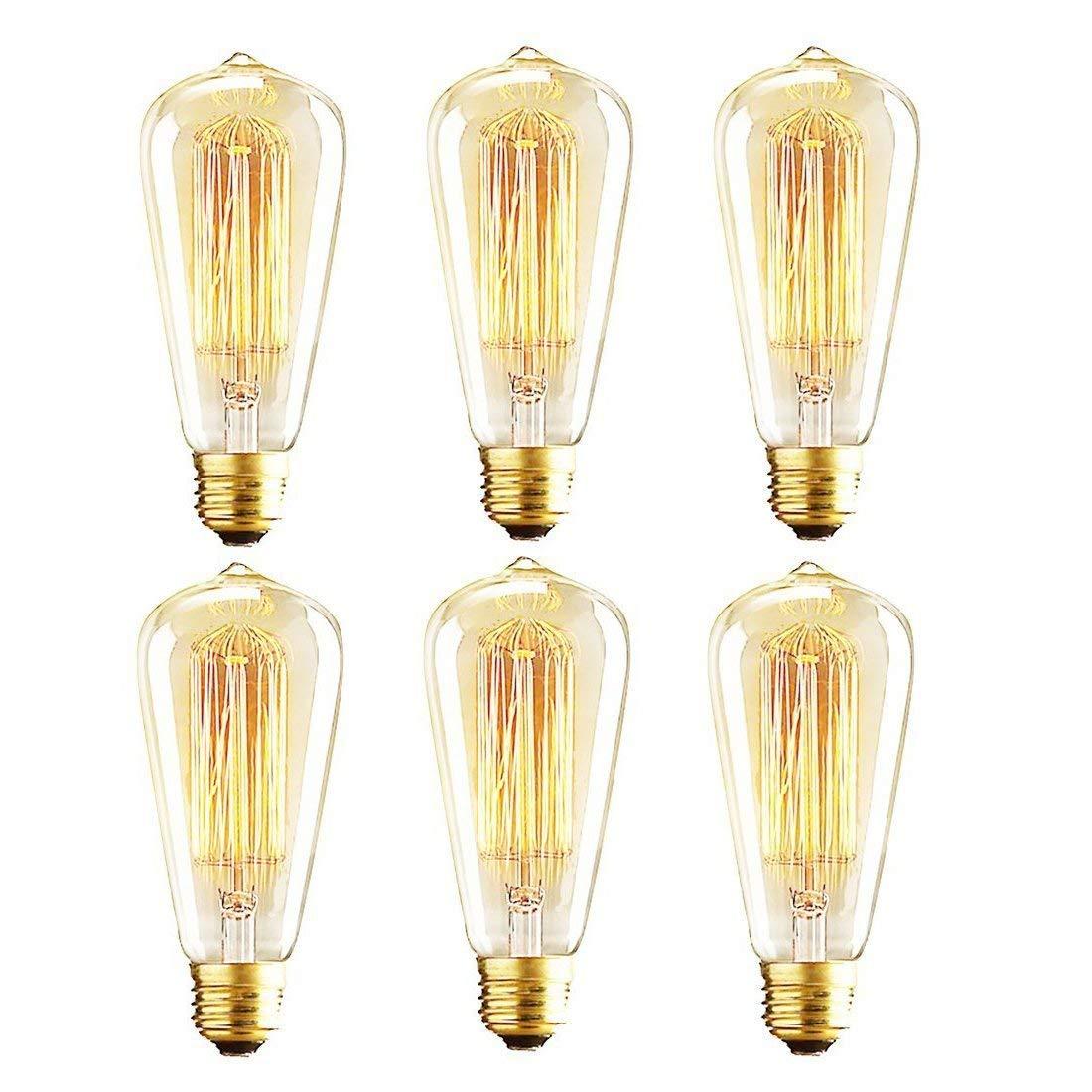 Vintage Edison Bulbs, 60W ST64 Dimmable Incandescent Light Bulbs, Squirrel Cage Filament Bulbs, 2700K Soft Warm White Light Bulb, 370 Lumens, Retro Light Bulbs, Amber Glass,E26 Medium Base, Pack of 6
