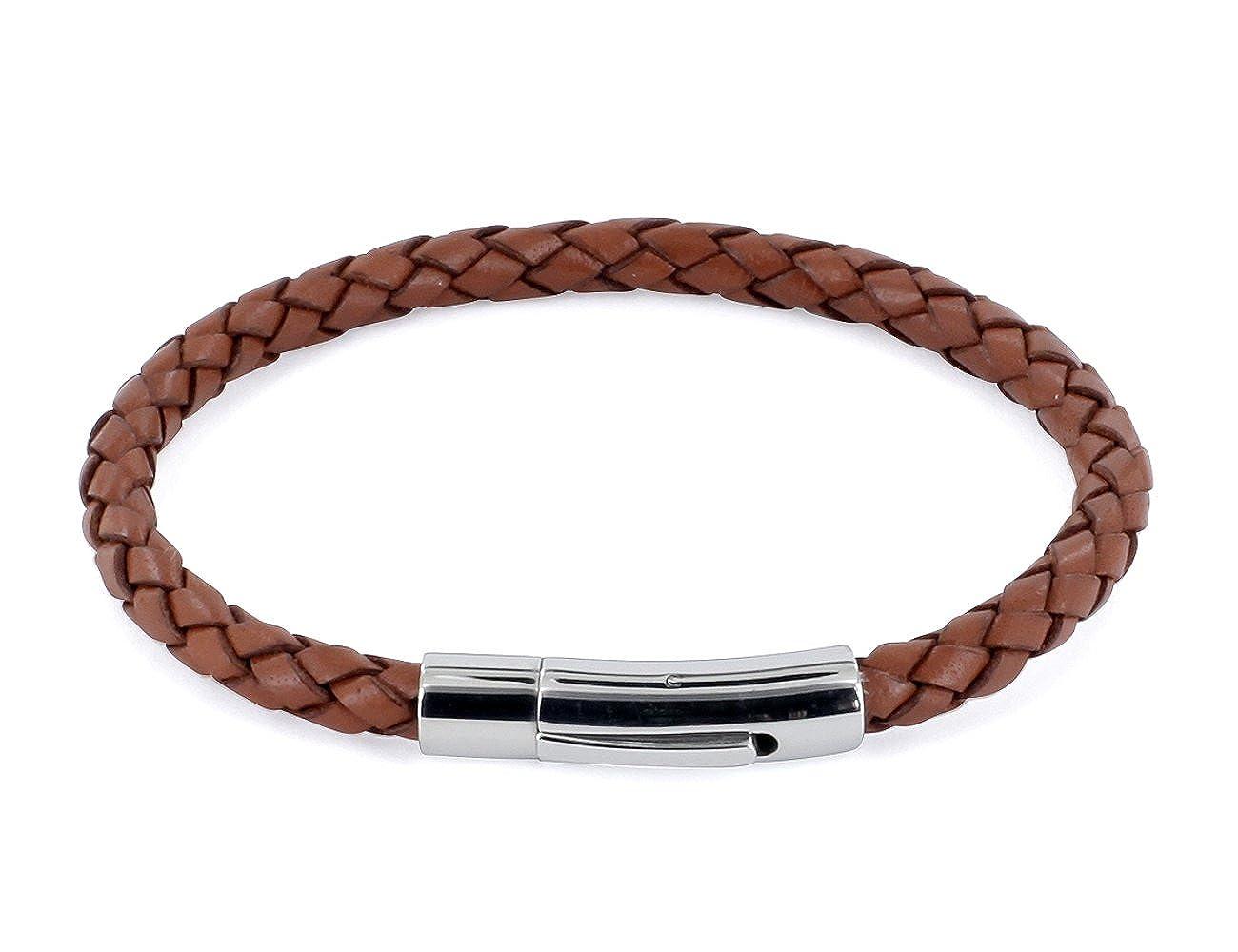 AURORIS Echtleder-Armband geflochten 5mm mit Hebeldruckverschluss aus Edelstahl Farbe: hellbraun 4250995619398