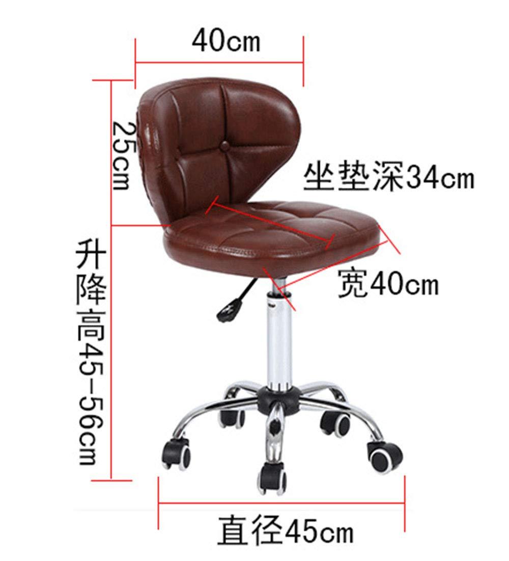 XJIANQI PU-läder höjd justerbar svängbar kontor datorstol 360 graders stol, barstol, svart Svart