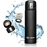 Stainless Steel Water Bottle, FILWO Double Wall Vacuum Insulated Travel Mug 100% Leak & Sweat Proof BPA Free, Cold 24 Hrs / Hot 12 Hrs 15 oz One Hand Open Vacuum Flask