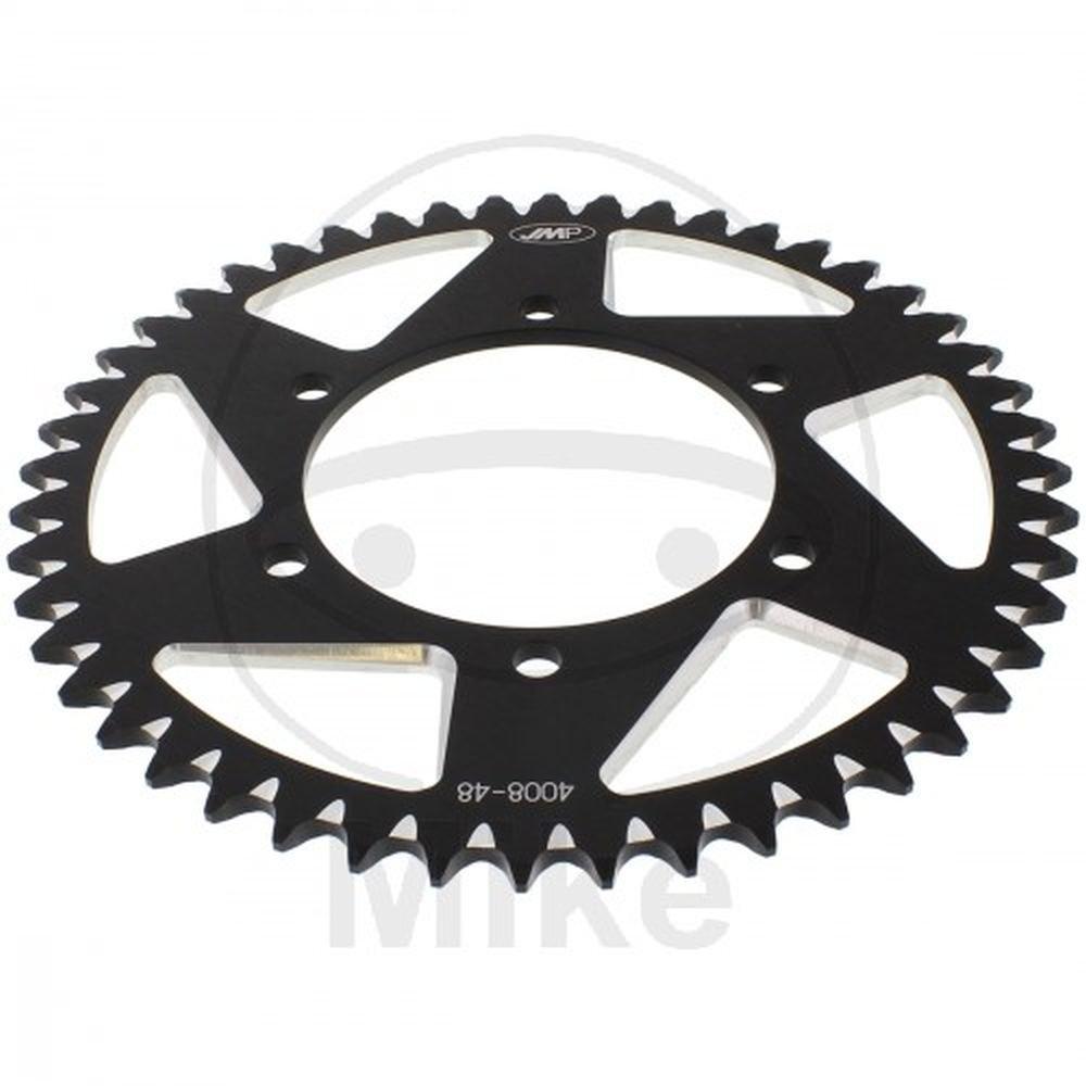Corona in alluminio passo 520 48 denti nera Jmp –  diam.int. 110 –  cerchio fori 130
