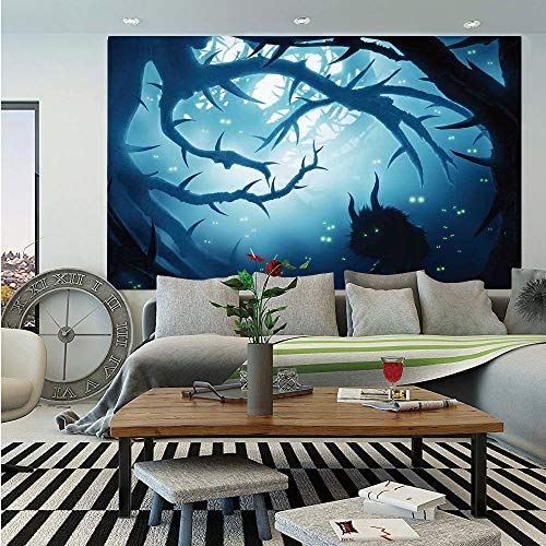 SoSung Mystic House Decor Removable Wall Mural,Animal with Burning Eyes in Dark Forest at Night Horror Halloween Illustration,Self-Adhesive Large Wallpaper for Home Decor 66x96 inches,Navy White -