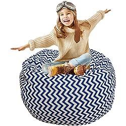 Kids Bean Bag | Large Bean Bag | Toy Storage | Children's Chair Cover | Soft Toy Bag | Kids Toys Organizer | Bean Bag Cover | Comfy Chair Comfortable Seating for Kids Blue Wave Stripes