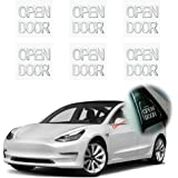KE-KE 6pcs Metal Texture Transfers Sticker for Tesla Model 3 Open Door Exit Decal Set Sticker Kit Accessories