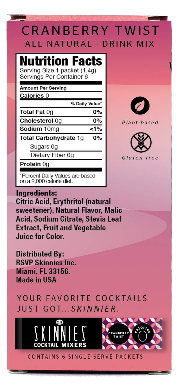 RSVP Skinnies - 0 Calorie mixers - Cranberry Twist, 4-boxes (6 packets per box) by RSVP Skinnies - cocktail mixers (Image #2)