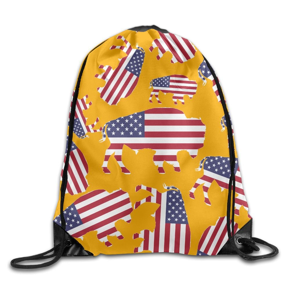 Buffalo USA Flag Lightweight Ripstop Polyester Sackpack Gift Bag Rucksack With Pattern Printing