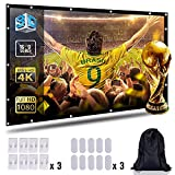 Projection Screen 100'' inch 16:9 Moive Screen HD Ready for Home Cinema Theater Presentation Education Outdoor Indoor Public Display Support Double Sided Projection with Bag